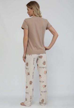 Пижама из хлопка со штанами Cute Cat