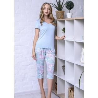 Пижама с бриджами большого размера Mint flower
