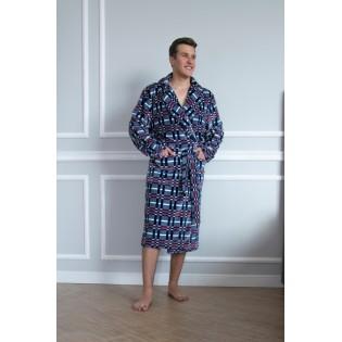 Теплый халат в клетку Shato Navy blue
