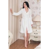Белый халат из велсофта Shato