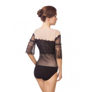 Эффектное ажурное боди-блузка